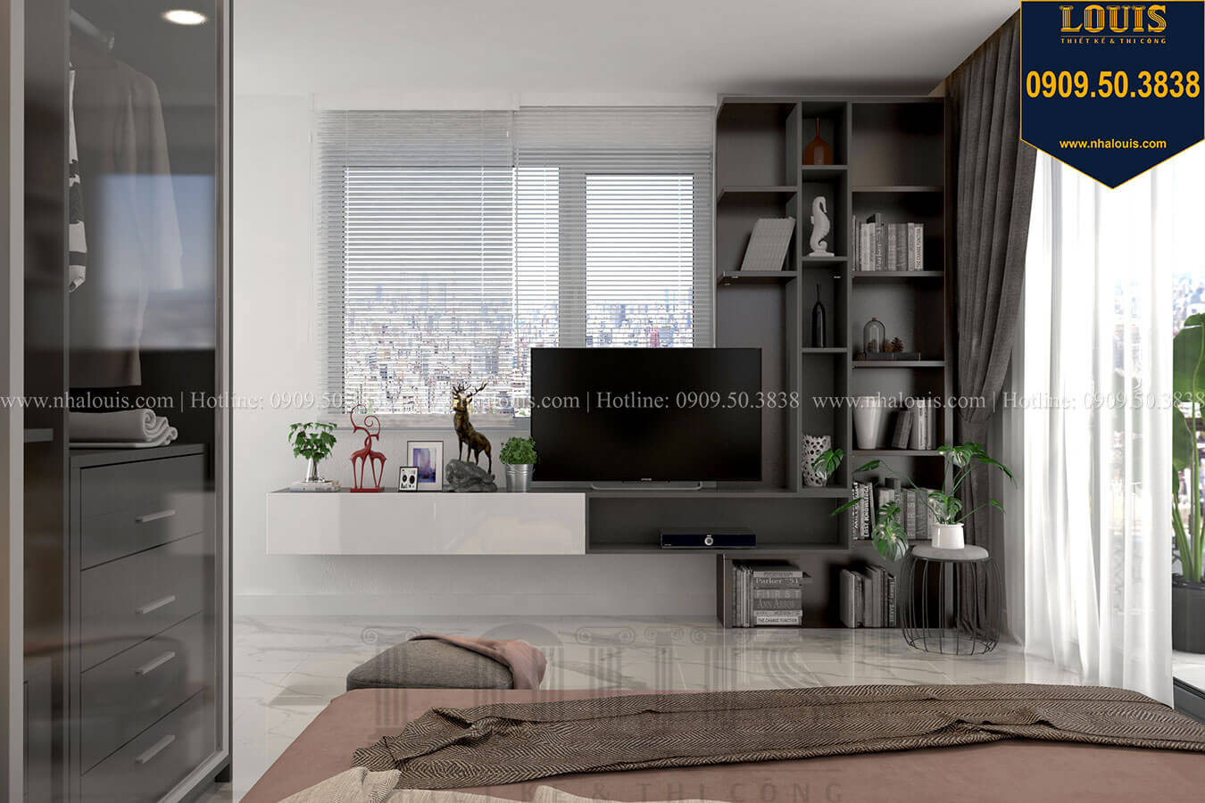 Phòng ngủ Thiết kế biệt thự 3 tầng hiện đại mặt tiền 10m tại Cần Thơ - 19