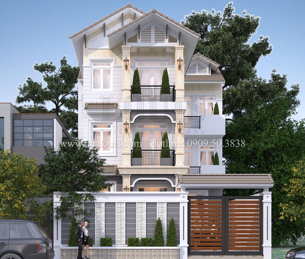 Thiết kế biệt thự 3 tầng hiện đại mặt tiền 10m tại Cần Thơ