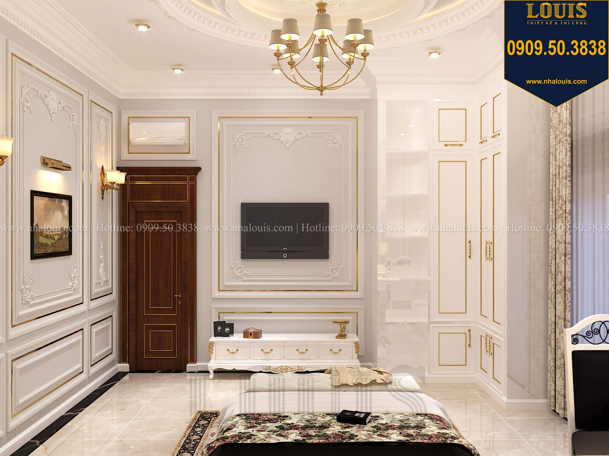 Phòng ngủ con gái Thiết kế biệt thự cổ điển 2 tầng nguy nga và đẳng cấp tại Tây Ninh - 56