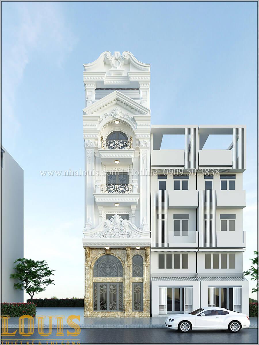 Mặt tiền Thiết kế nhà phố tân cổ điển 5 tầng chuẩn sang trọng để cho thuê tại Quận 2 - 01