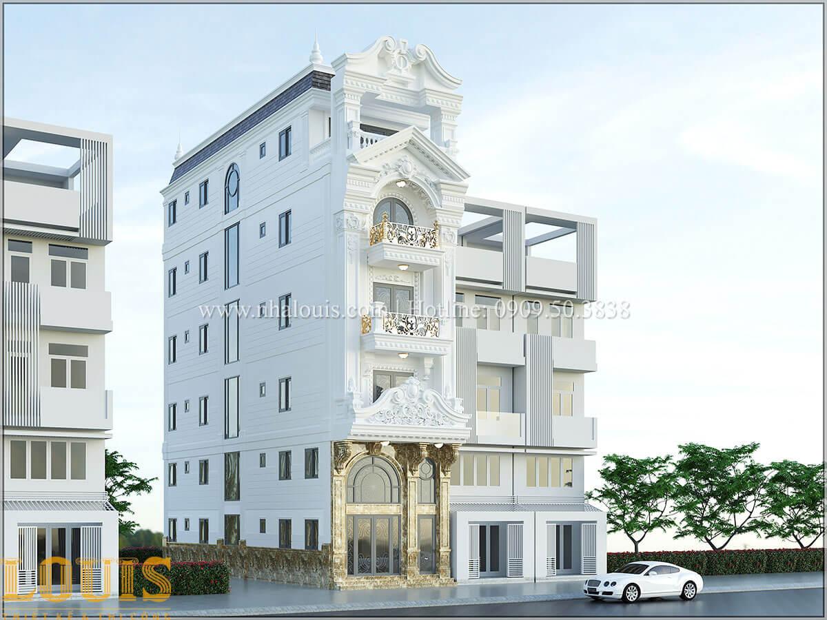 Mặt tiền Thiết kế nhà phố tân cổ điển 5 tầng chuẩn sang trọng để cho thuê tại Quận 2 - 02