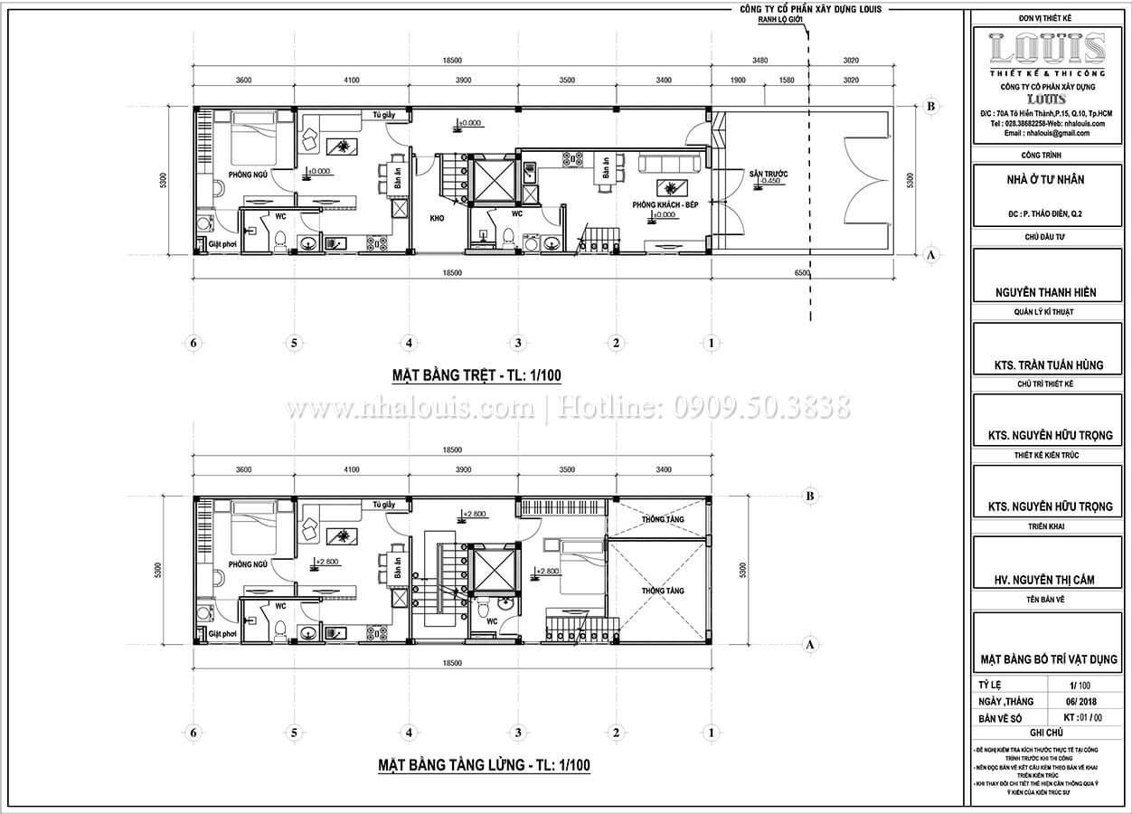 Mặt bằng tầng trệt, tầng lửng Thiết kế nhà phố tân cổ điển 5 tầng chuẩn sang trọng để cho thuê tại Quận 2 - 05