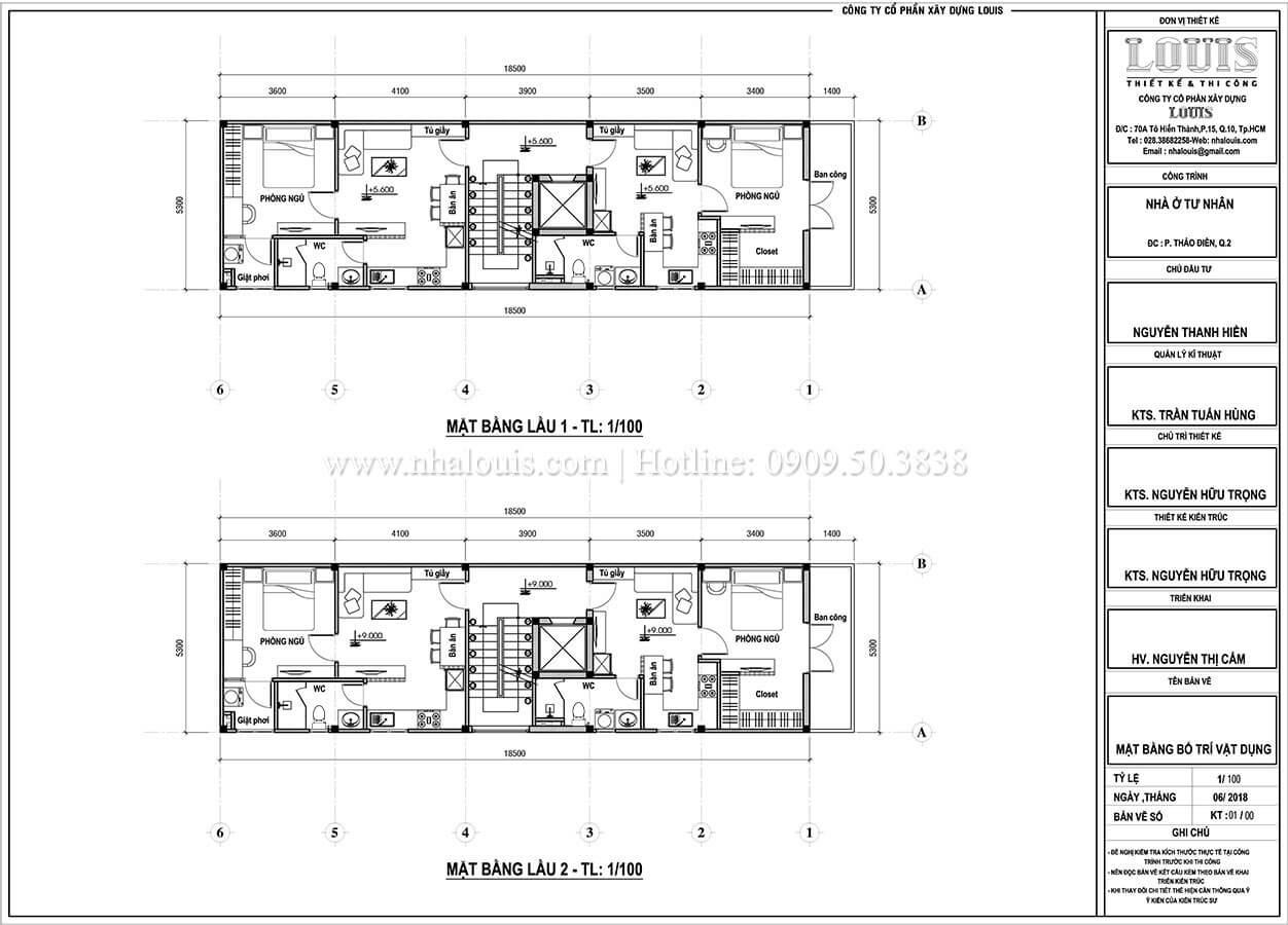 Mặt bằng tầng 1, tầng 2 Thiết kế nhà phố tân cổ điển 5 tầng chuẩn sang trọng để cho thuê tại Quận 2 - 06