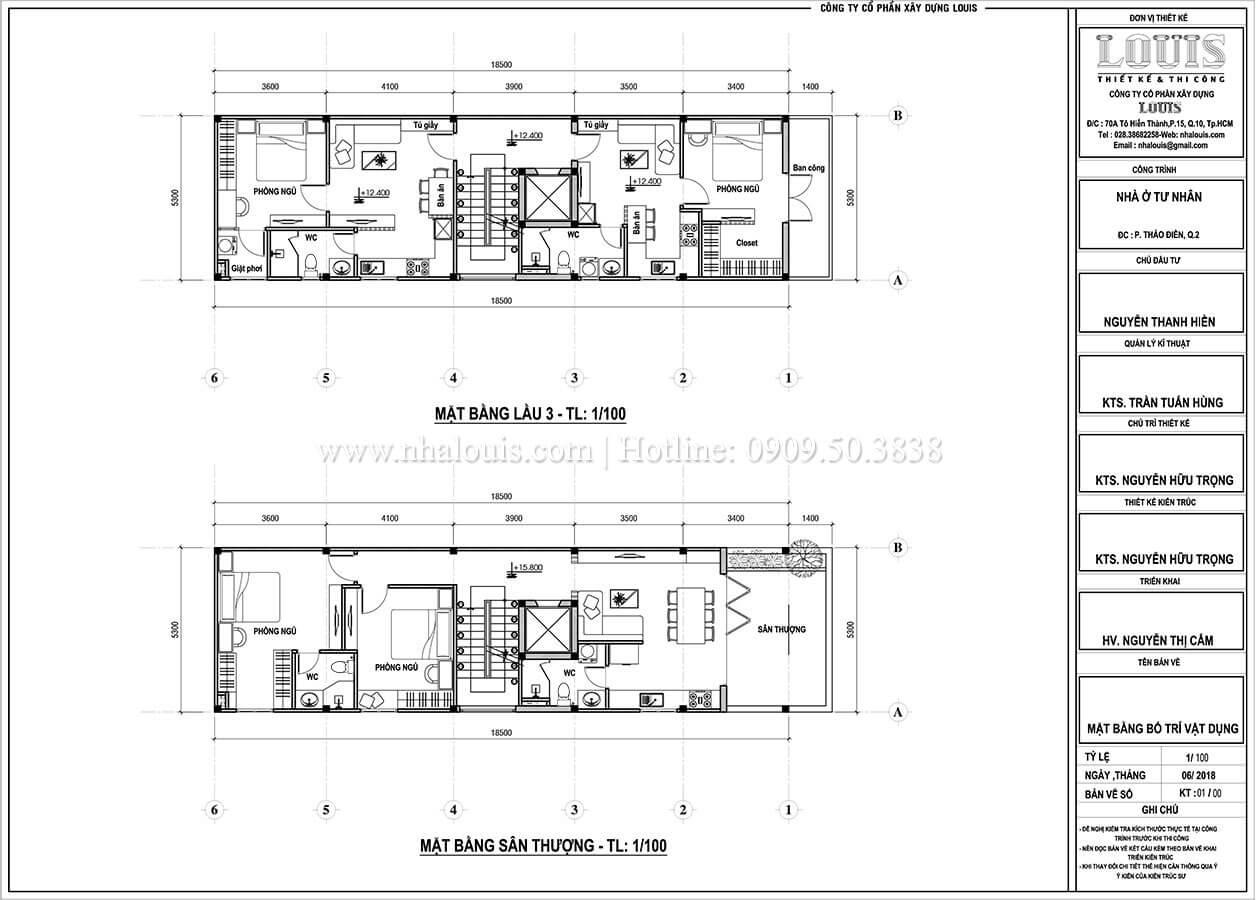 Mặt bằng tầng 3, sân thượng Thiết kế nhà phố tân cổ điển 5 tầng chuẩn sang trọng để cho thuê tại Quận 2 - 07