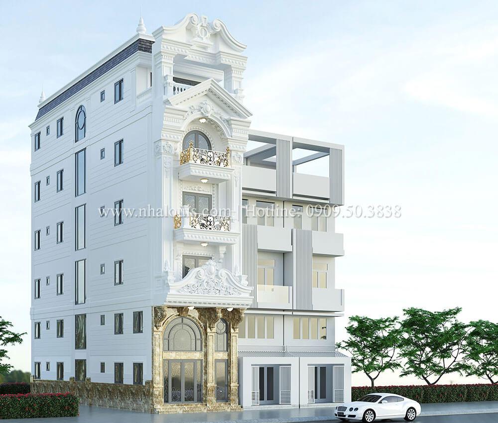 Thiết kế nhà phố tân cổ điển 5 tầng chuẩn sang trọng để cho thuê tại Quận 2