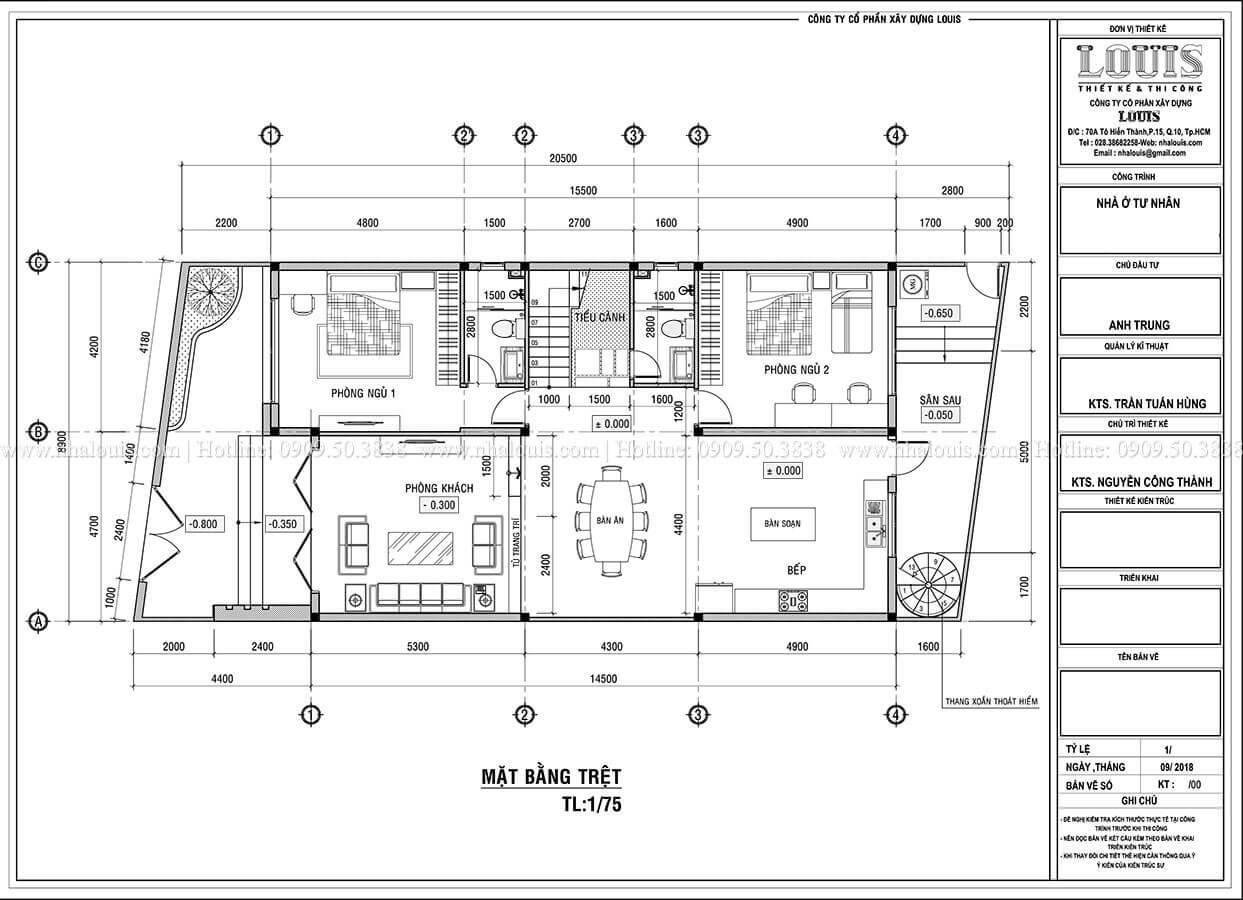 Mặt bằng tầng trệt Biệt thự 1 trệt 1 lầu phong cách hiện đại năng động tại Cần Thơ - 07