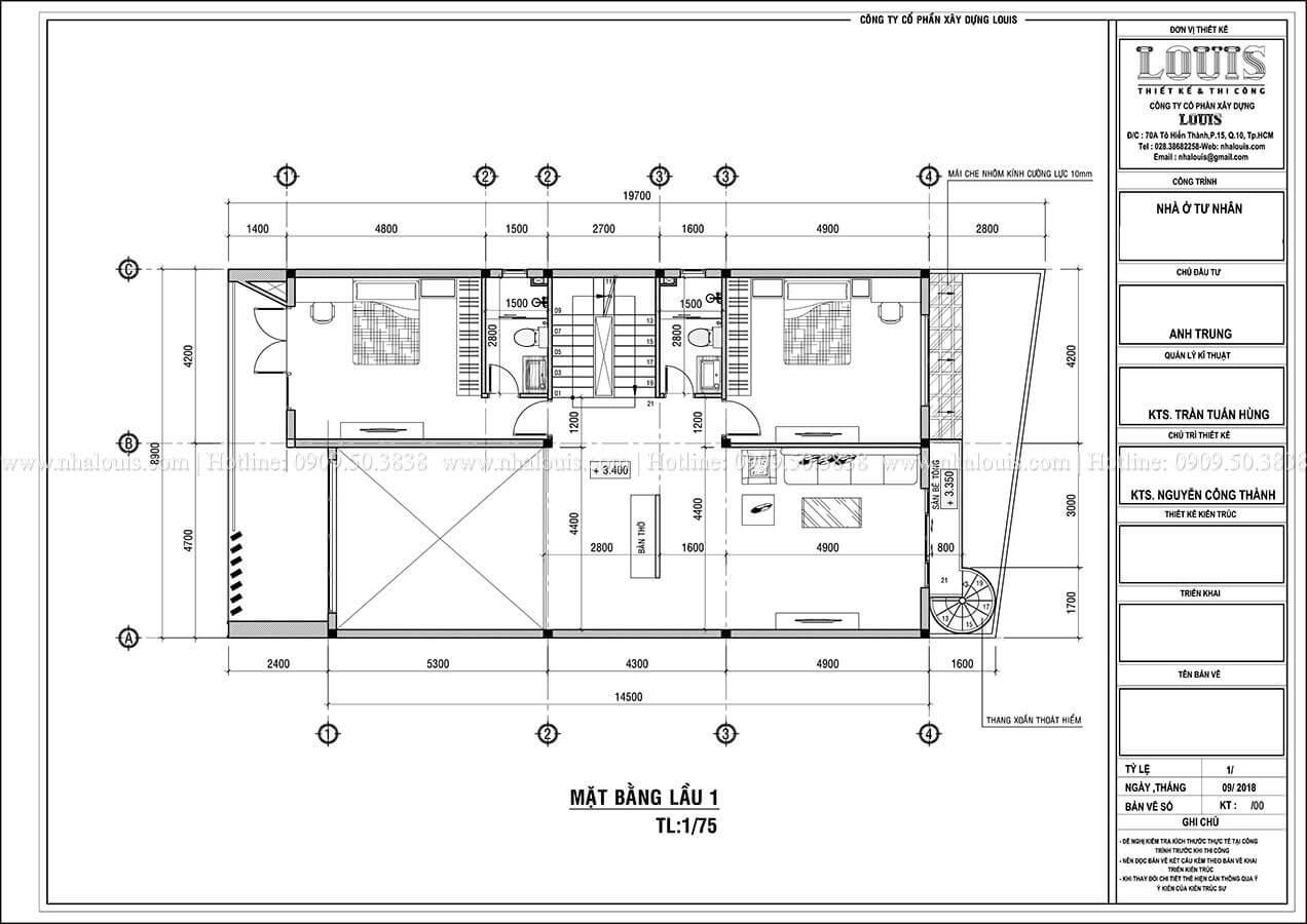 Mặt bằng tầng 1 Biệt thự 1 trệt 1 lầu phong cách hiện đại năng động tại Cần Thơ - 08