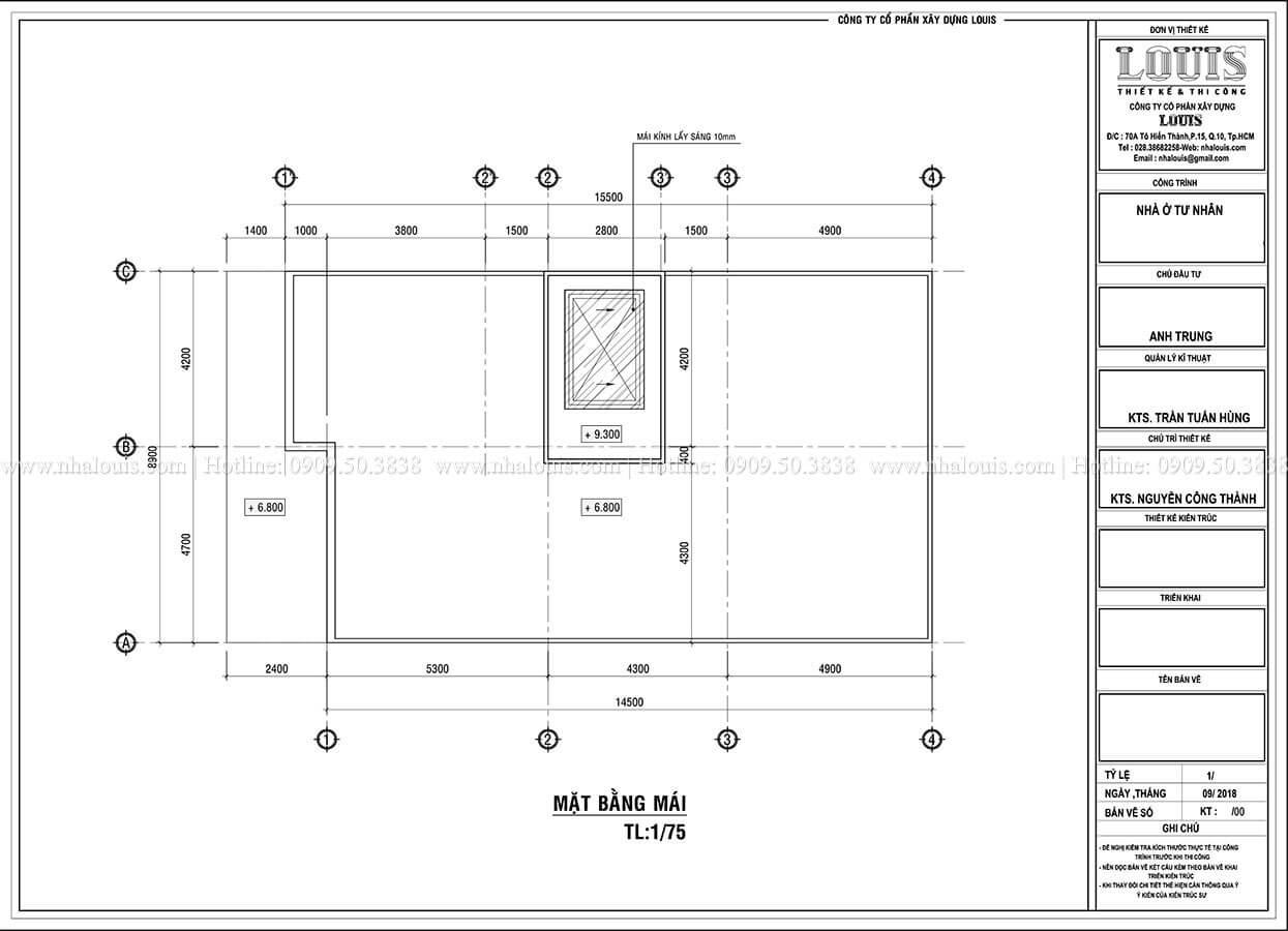 Mặt bằng tầng thượng Biệt thự 1 trệt 1 lầu phong cách hiện đại năng động tại Cần Thơ - 09