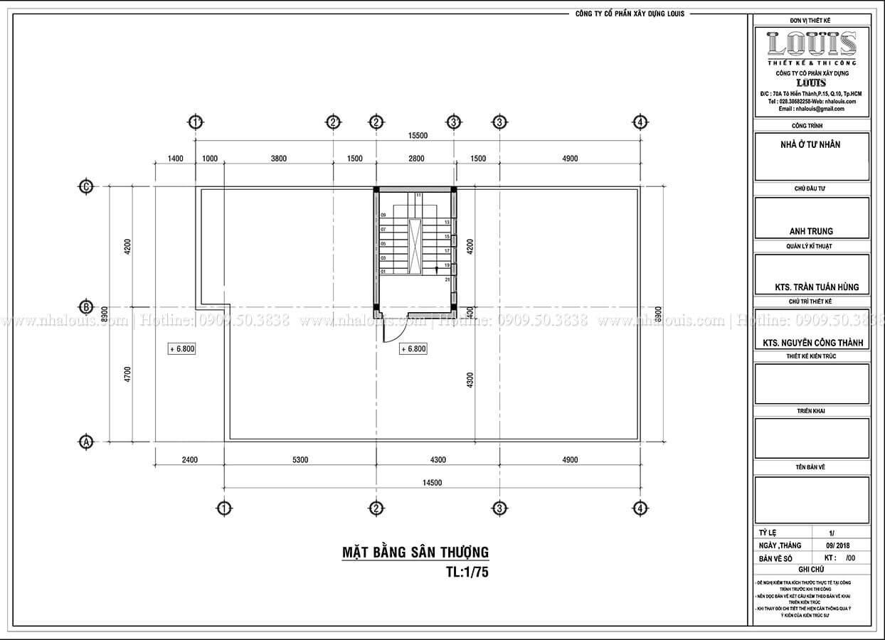 Mặt bằng tầng mái Biệt thự 1 trệt 1 lầu phong cách hiện đại năng động tại Cần Thơ - 10