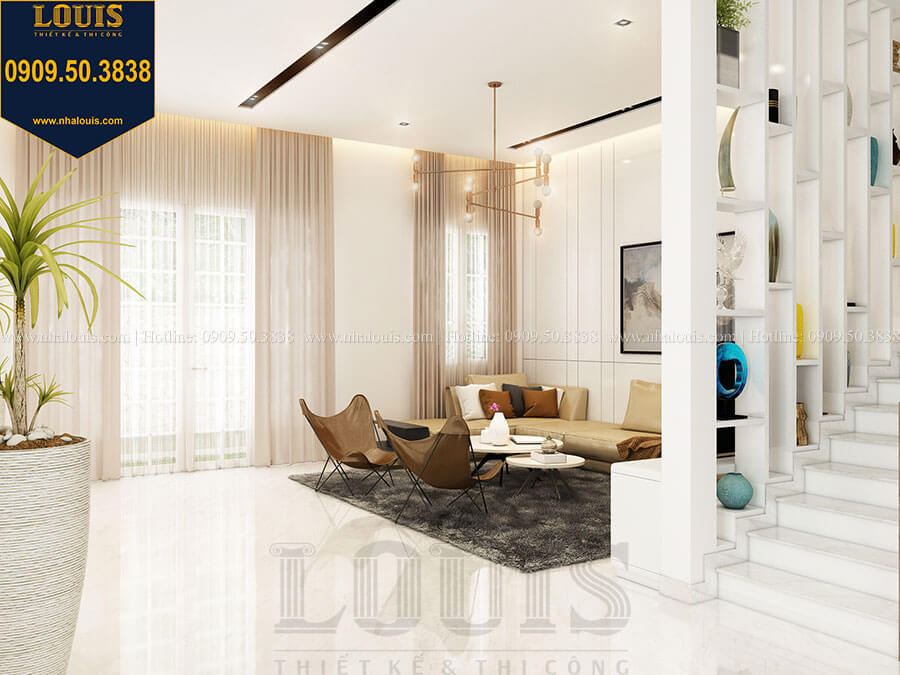 Phòng khách Mẫu biệt thự hiện đại 2 tầng mái Thái sang trọng tại Đồng Nai