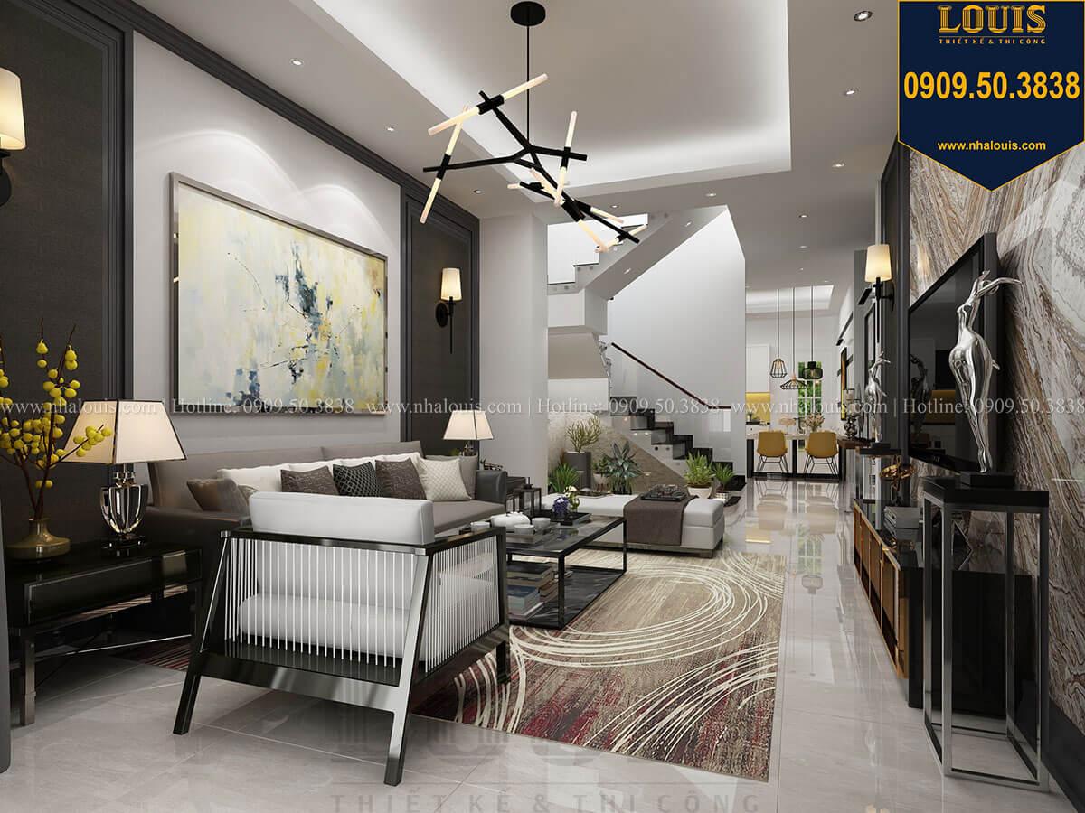 Phòng khách Mẫu nhà phố 3 tầng hiện đại với 2 mặt tiền tại Tân Phú - 12