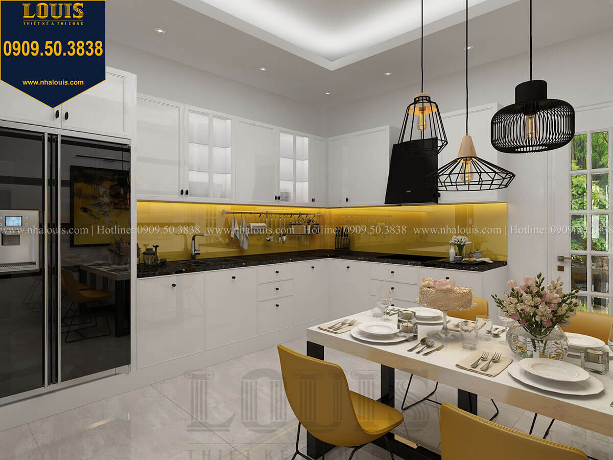 Bếp và phòng ăn Mẫu nhà phố 3 tầng hiện đại với 2 mặt tiền tại Tân Phú - 13