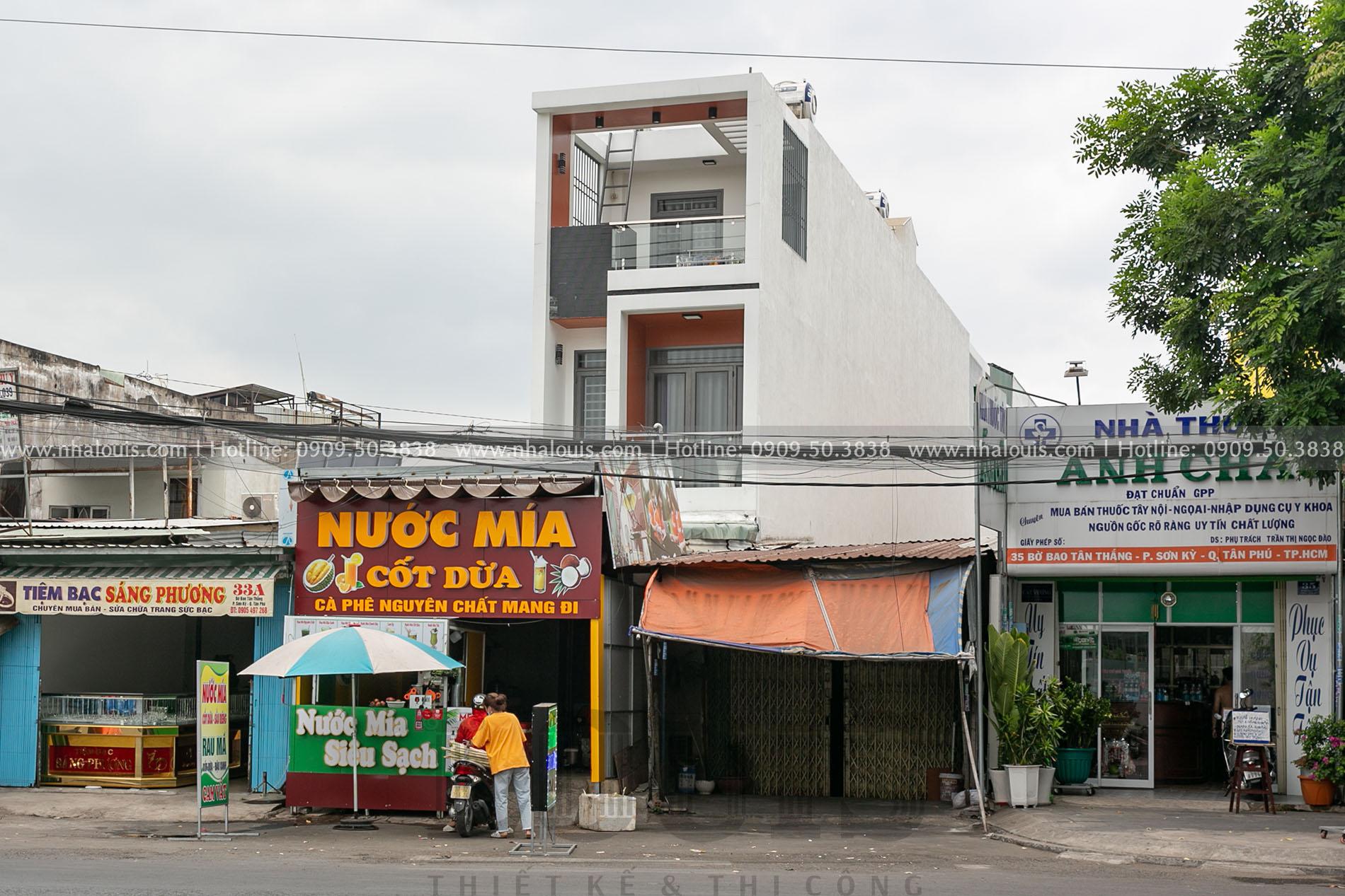 Hình ảnh mặt tiền mẫu nhà phố 3 tầng hiện đại tại Tân Phú