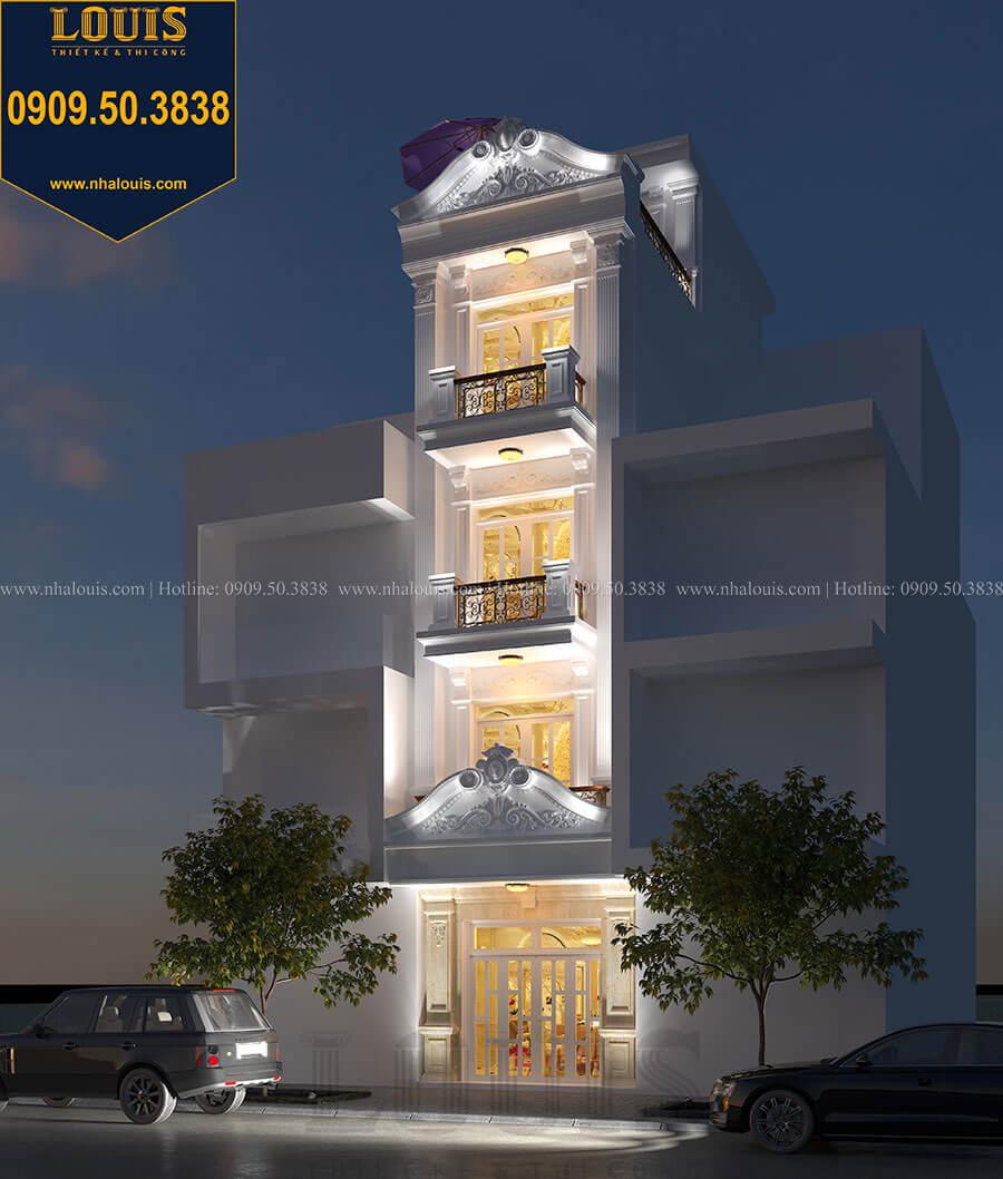 Mặt tiền Mẫu nhà phố 5 tầng mặt tiền 4m phong cách tân cổ điển tại Tân Phú -02