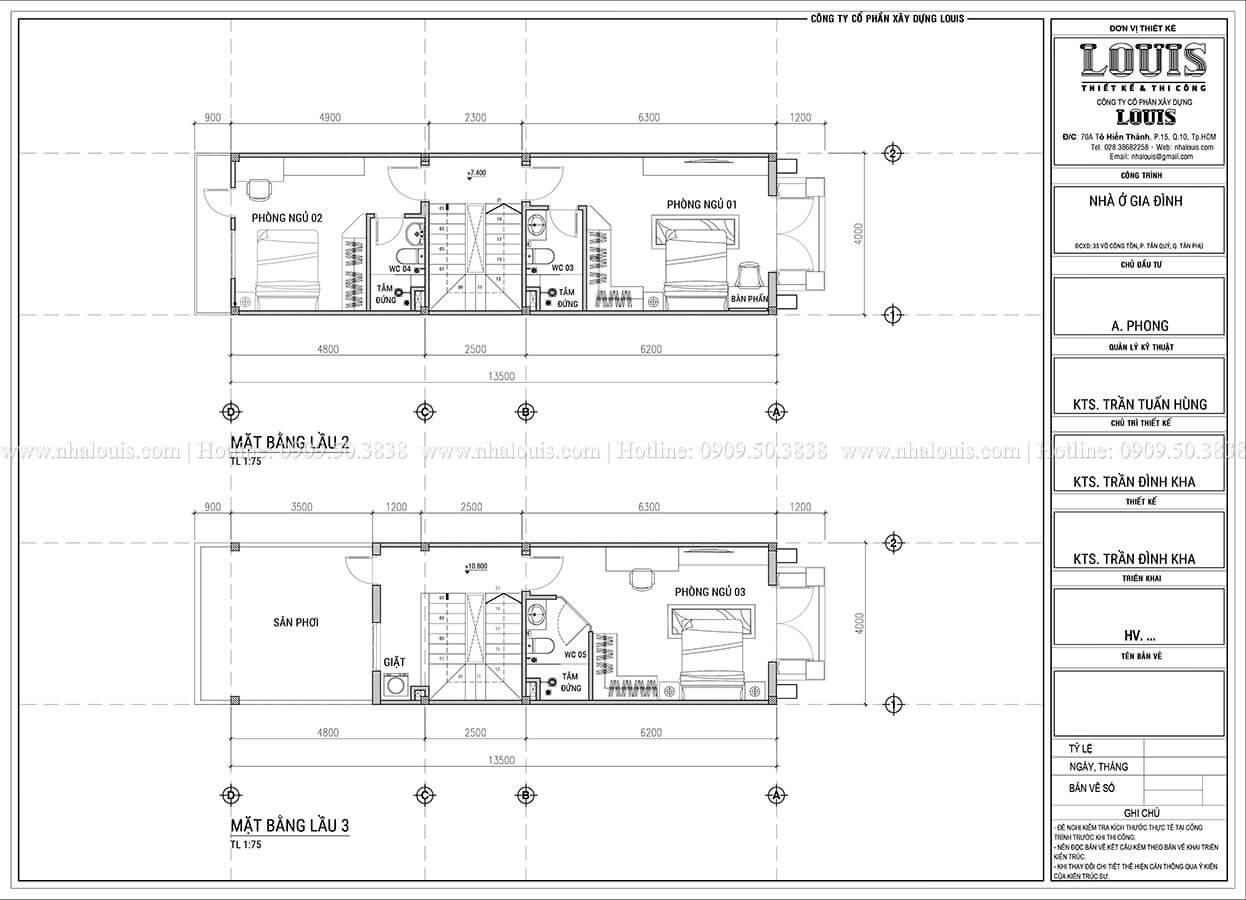 Mặt bằng tầng 2, tầng 3 Mẫu nhà phố 5 tầng mặt tiền 4m phong cách tân cổ điển tại Tân Phú -04