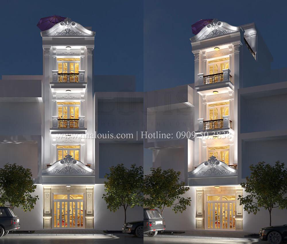Mẫu nhà phố 5 tầng mặt tiền 4m phong cách tân cổ điển tại Tân Phú
