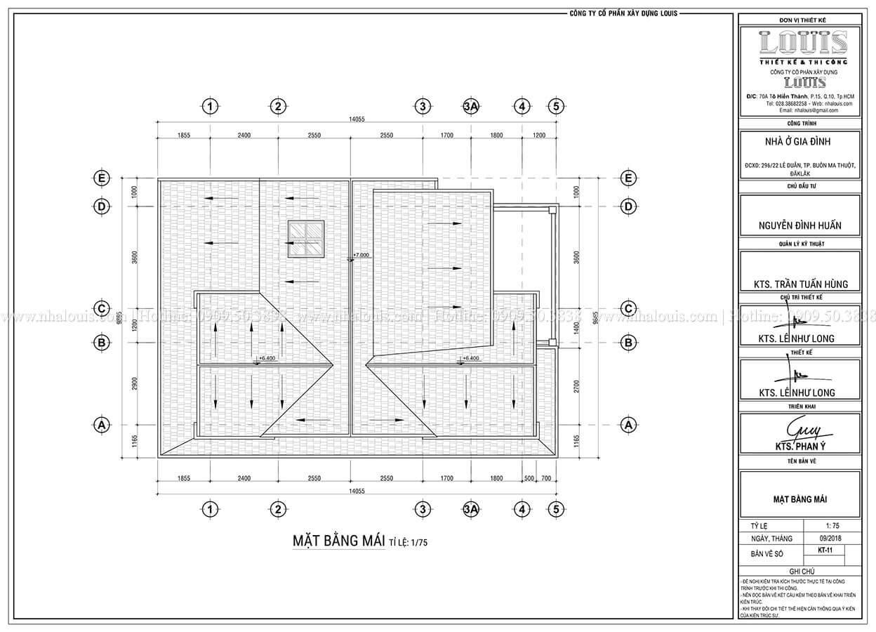 Mặt bằng tầng mái Biệt thự mini phong cách đồng quê kiểu Mỹ tại Đăk Lăk - 12