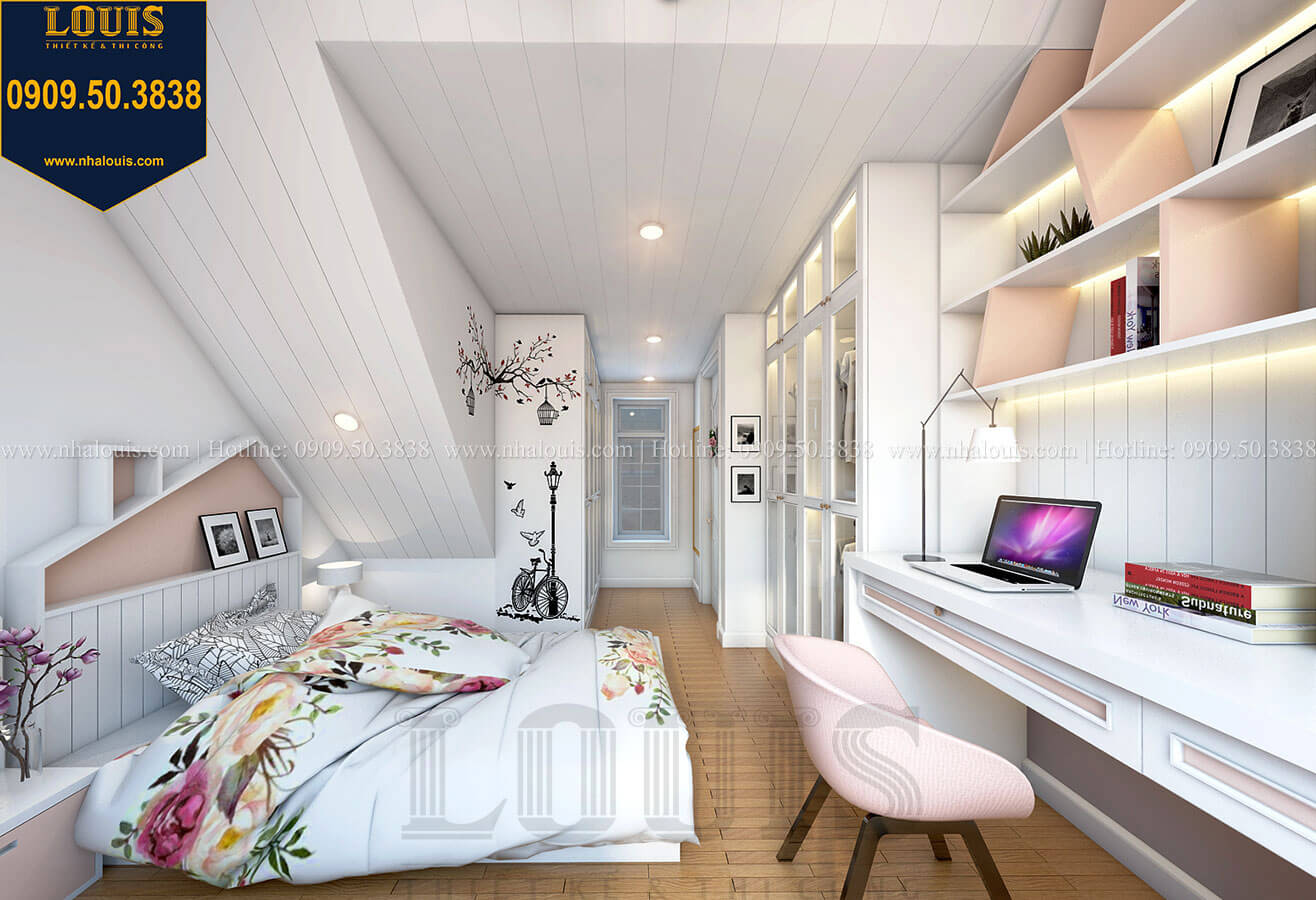 Phòng ngủ con gái Biệt thự mini phong cách đồng quê kiểu Mỹ tại Đăk Lăk - 29