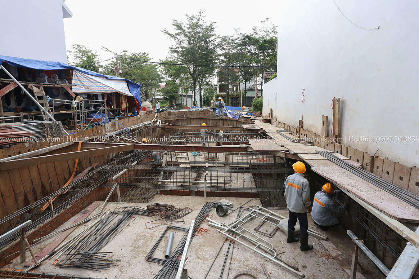 Khởi công mẫu nhà phố 4 tầng 7x16m có tầng hầm tại Bình Chánh