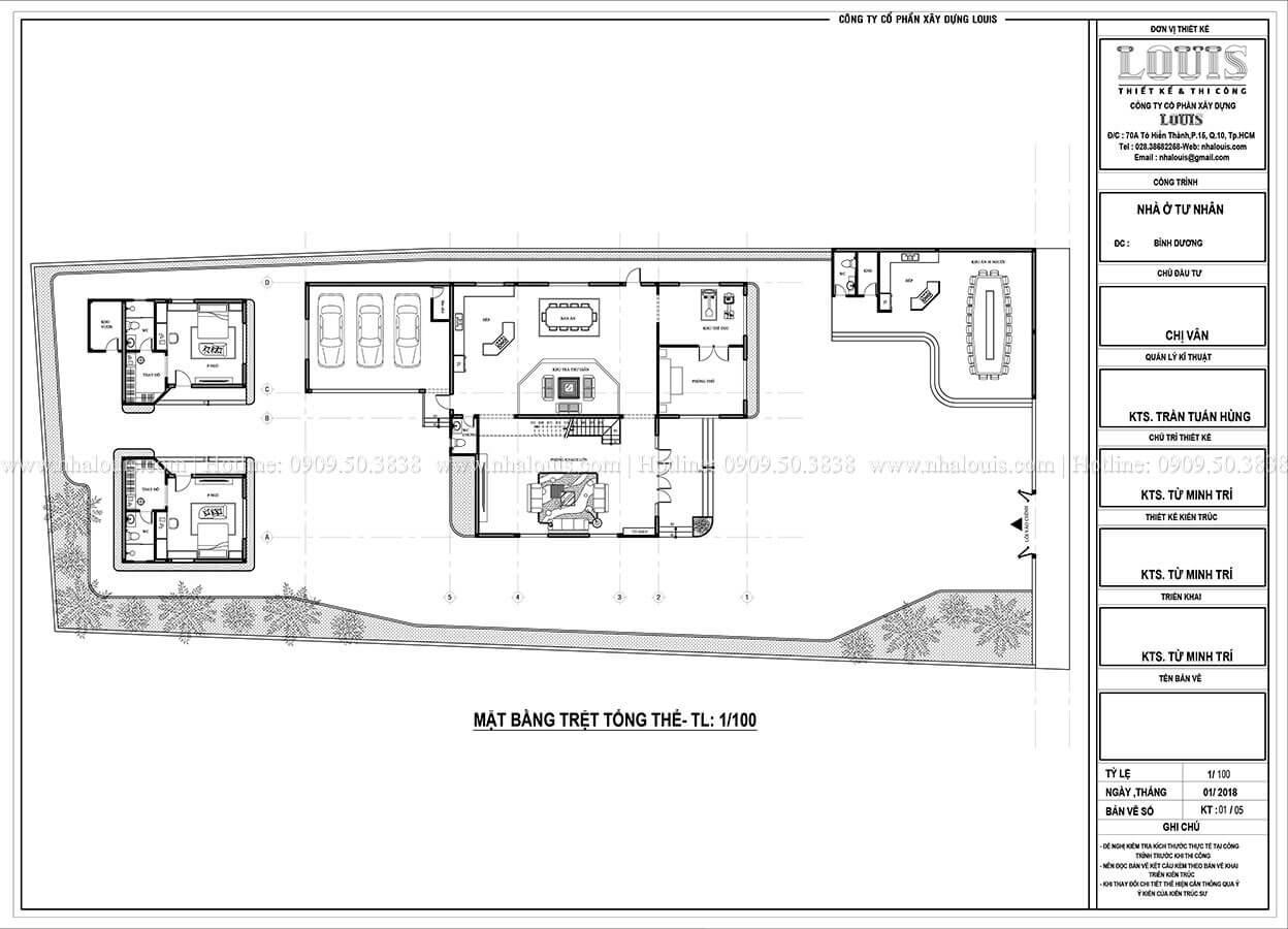Mặt bằng tổng thể Mẫu biệt thự 2 tầng hiện đại với thiết kế phá cách tại Bình Dương - 22