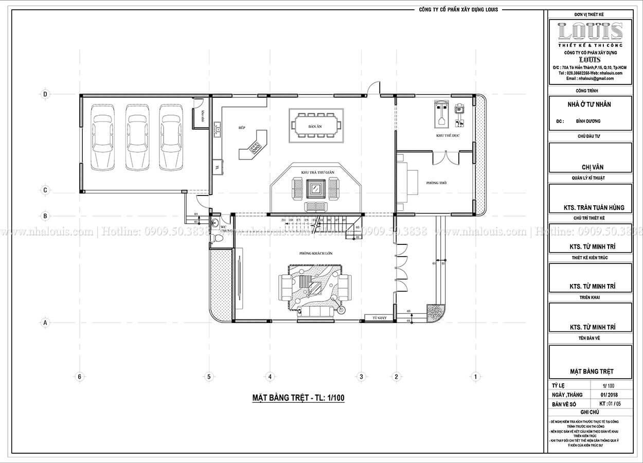 Mặt bằng tầng trệt nhà 2 tầng hiện đại phá cách