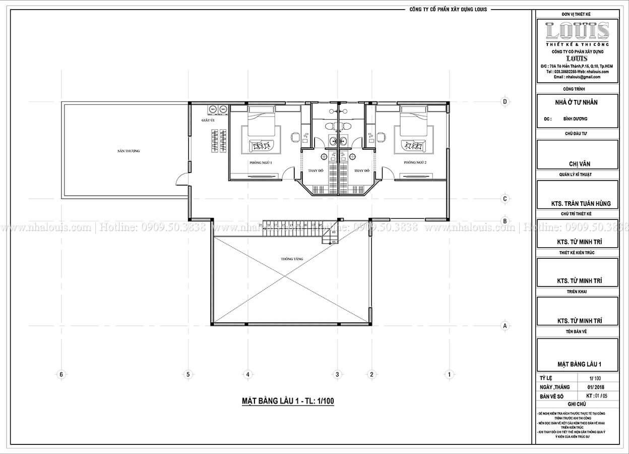 Mặt bằng tầng 1 nhà 2 tầng hiện đại phá cách