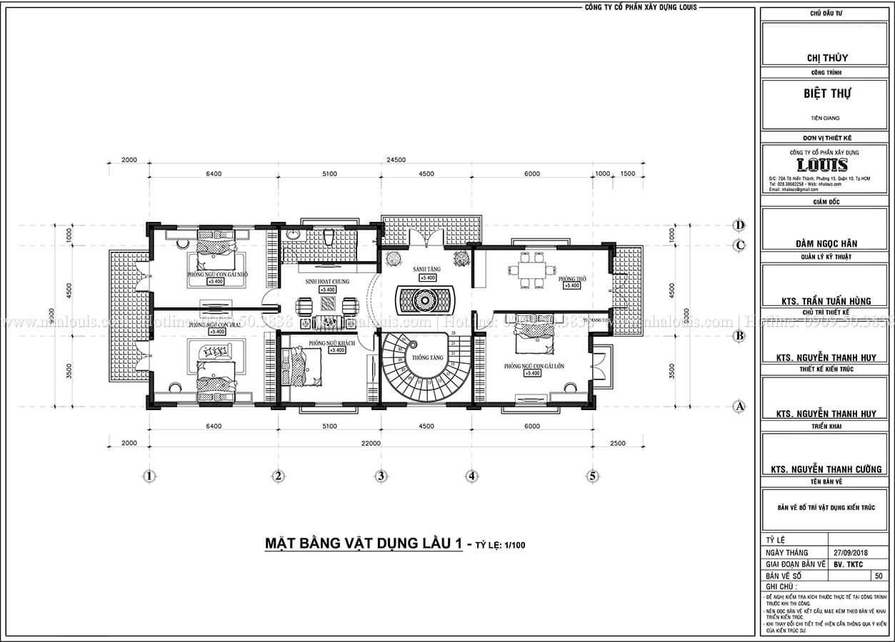 Mặt bằng tầng 1 Mẫu biệt thự 2 tầng mặt tiền 9m với mái thái ấn tượng tại Tiền Giang - 06