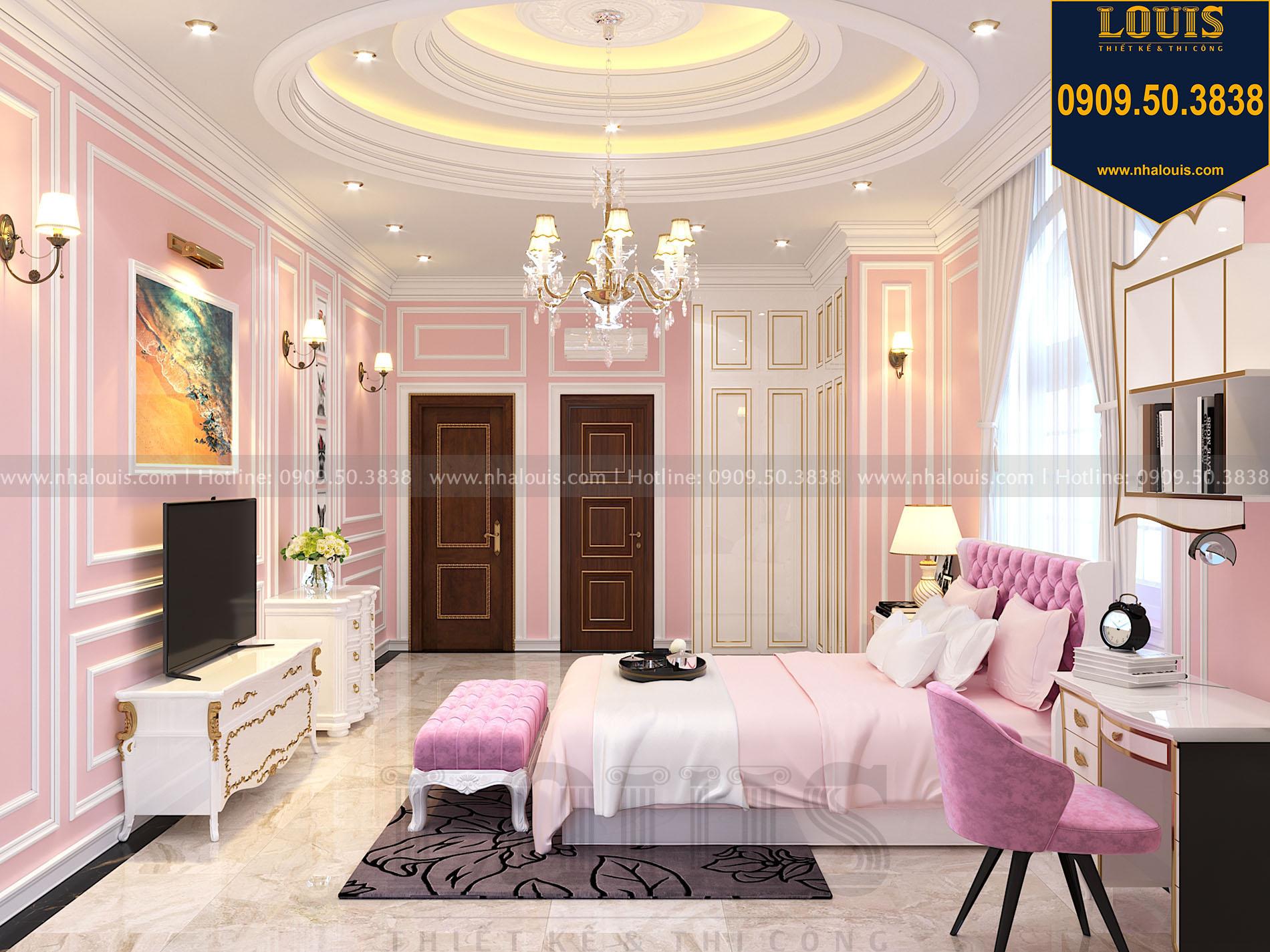 thiết kế phòng ngủ biệt thự màu hồng