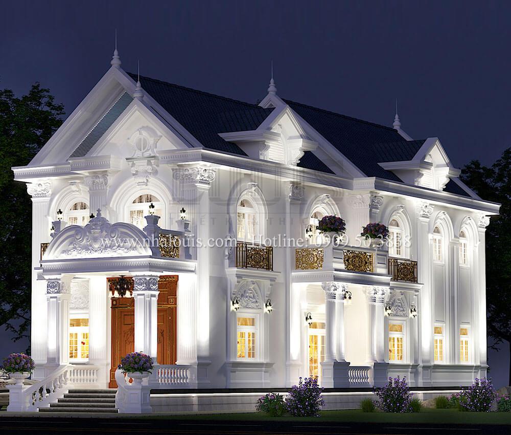 Mẫu biệt thự 2 tầng mặt tiền 9m với mái thái ấn tượng tại Tiền Giang