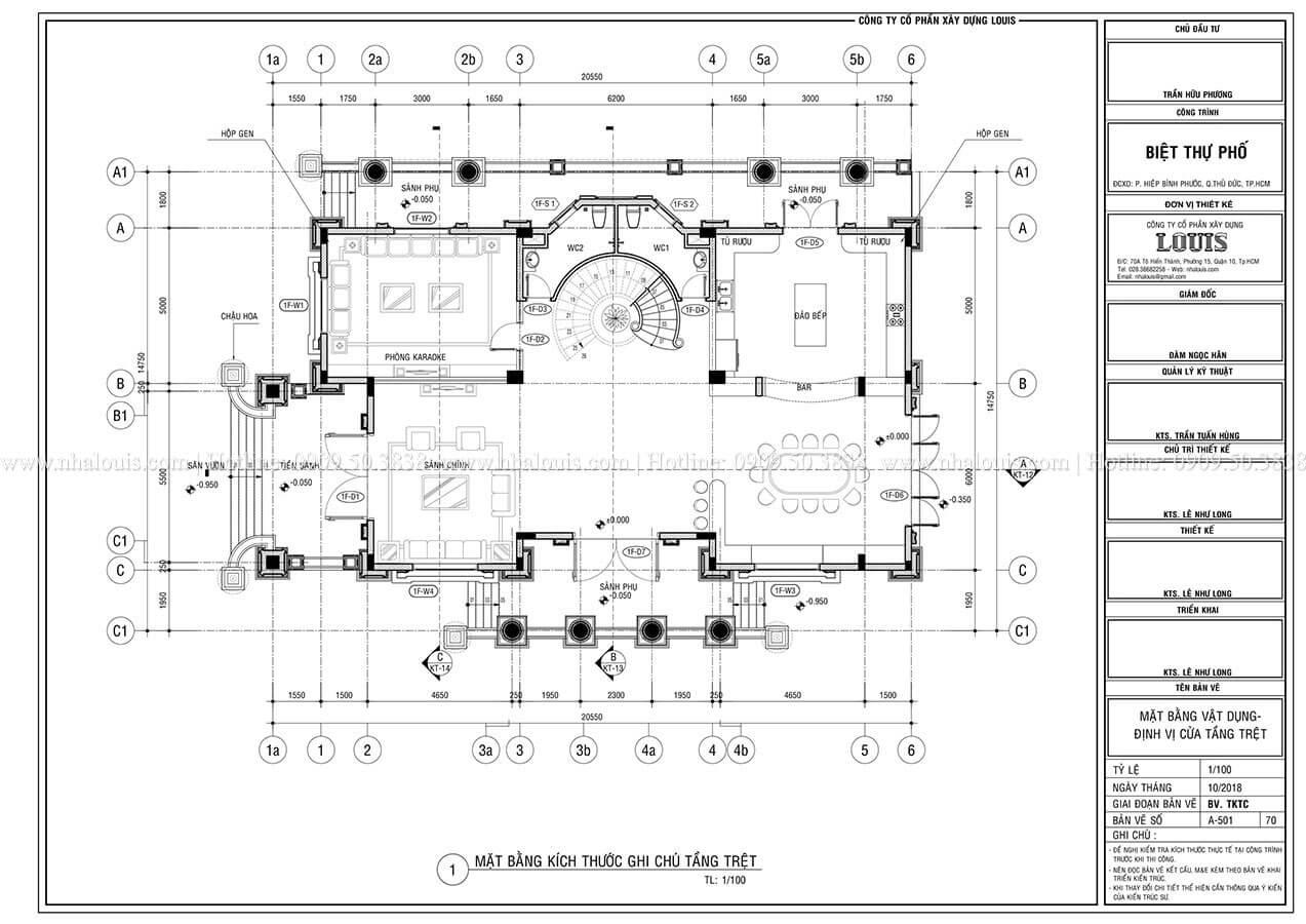 Mặt bằng tầng trệt Mẫu biệt thự cổ điển 4 tầng phong cách vương giả tại Thủ Đức - 07