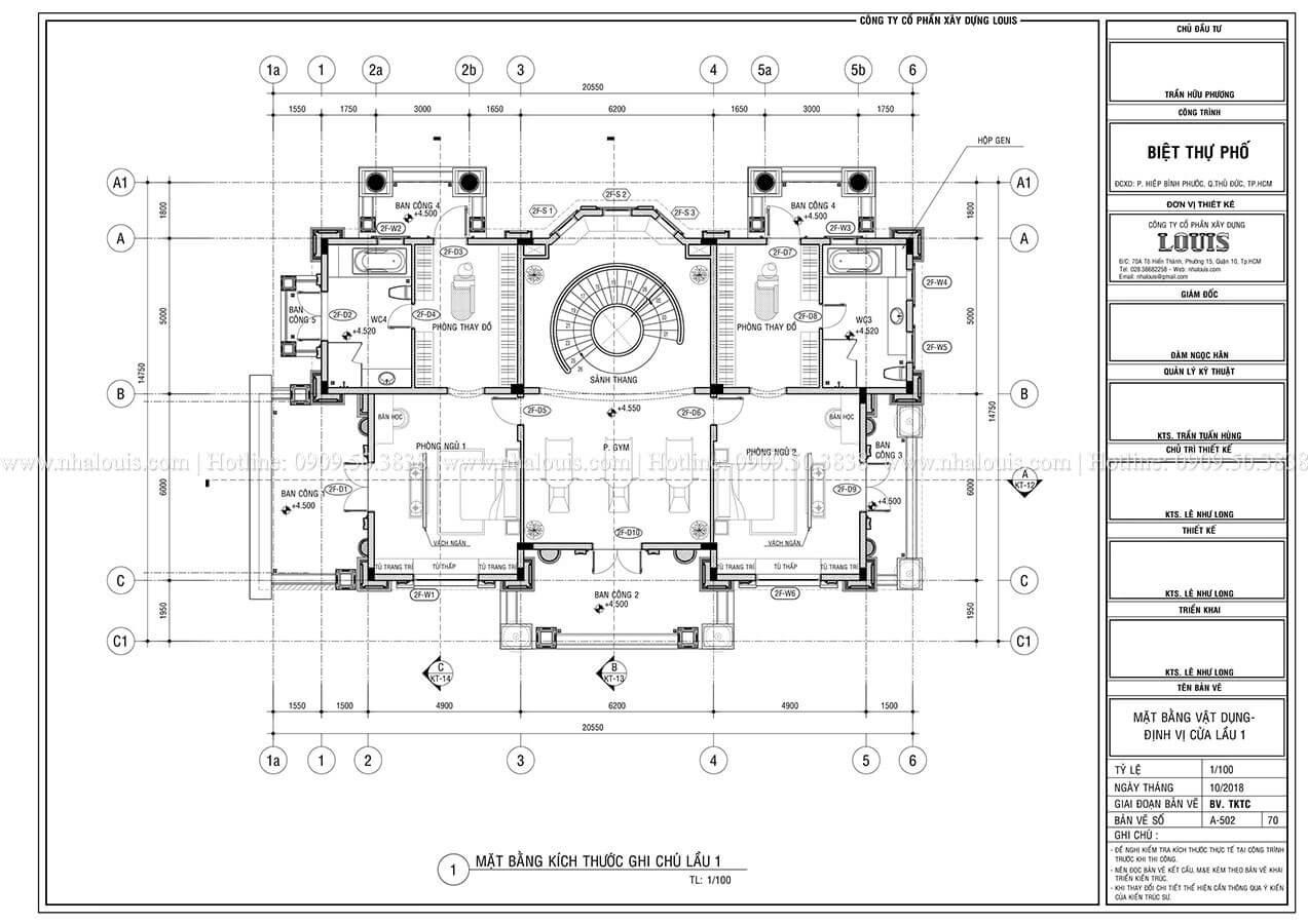 Mặt bằng tầng 1 Mẫu biệt thự cổ điển 4 tầng phong cách vương giả tại Thủ Đức - 08