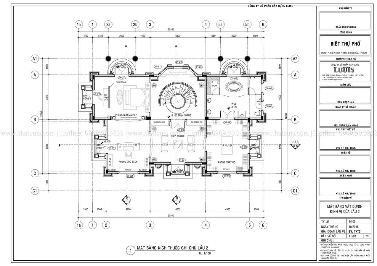 Mặt bằng tầng 2 Mẫu biệt thự cổ điển 4 tầng phong cách vương giả tại Thủ Đức - 09