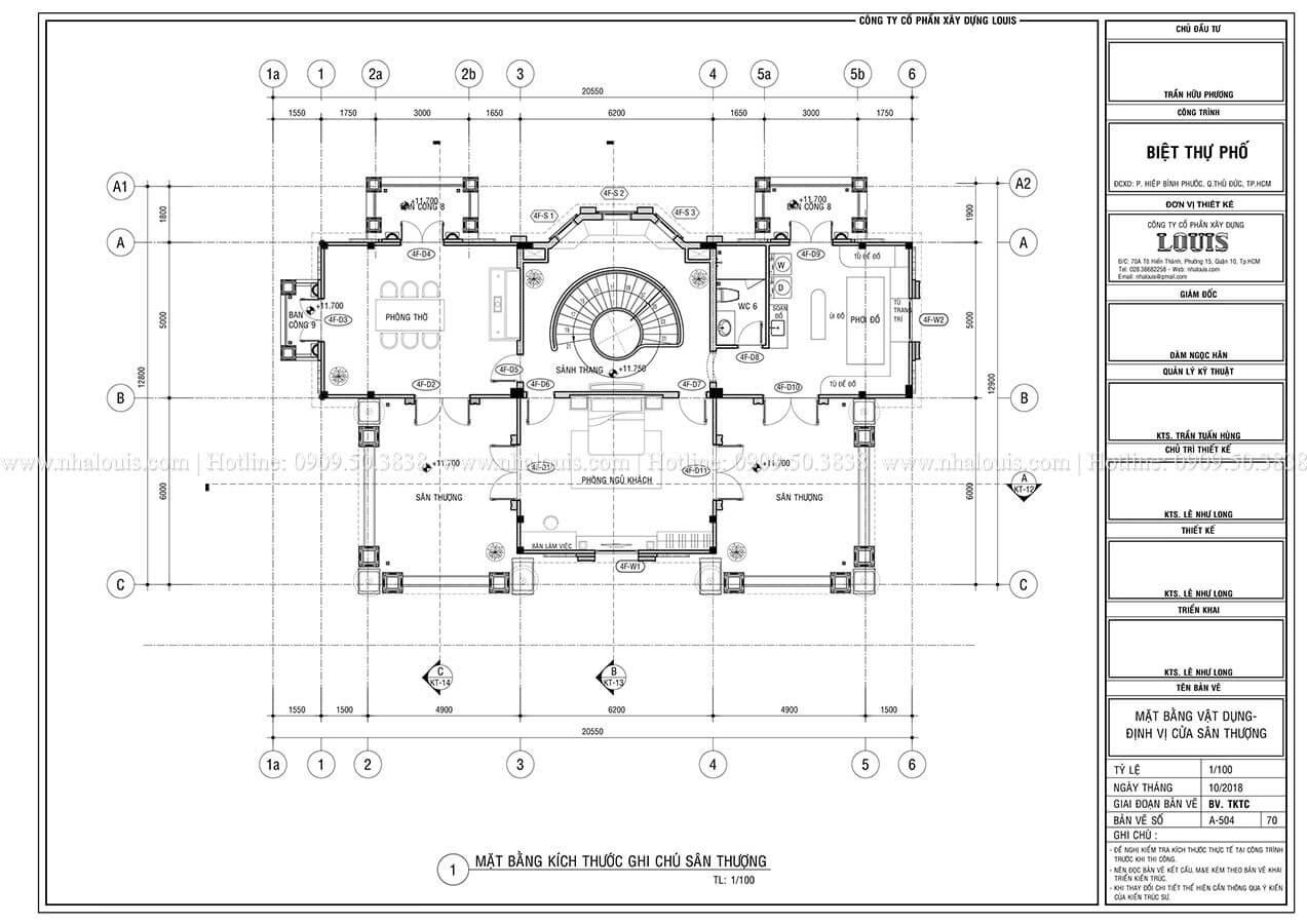 Mặt bằng tầng thượng Mẫu biệt thự cổ điển 4 tầng phong cách vương giả tại Thủ Đức - 10