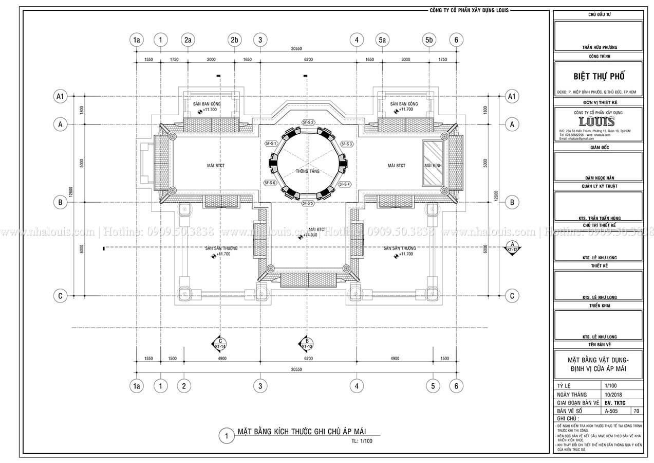 Mặt bằng tầng áp mái Mẫu biệt thự cổ điển 4 tầng phong cách vương giả tại Thủ Đức - 11