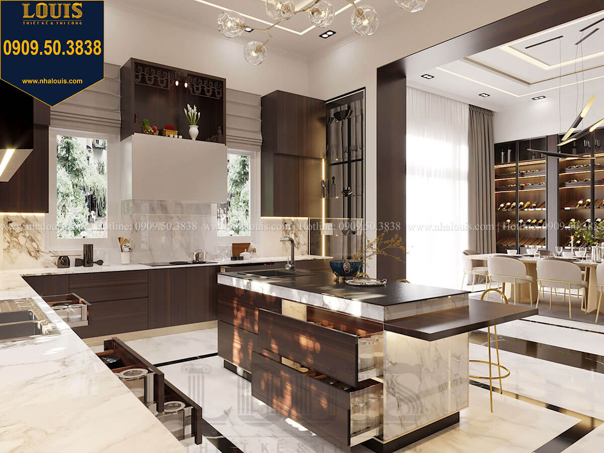 Phòng bếp Mẫu biệt thự cổ điển 4 tầng phong cách vương giả tại Thủ Đức - 30