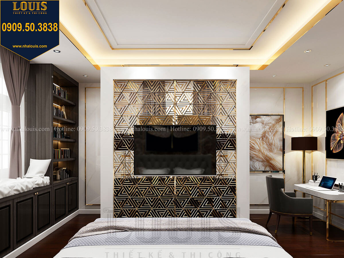 Phòng ngủ Mẫu biệt thự cổ điển 4 tầng phong cách vương giả tại Thủ Đức - 36