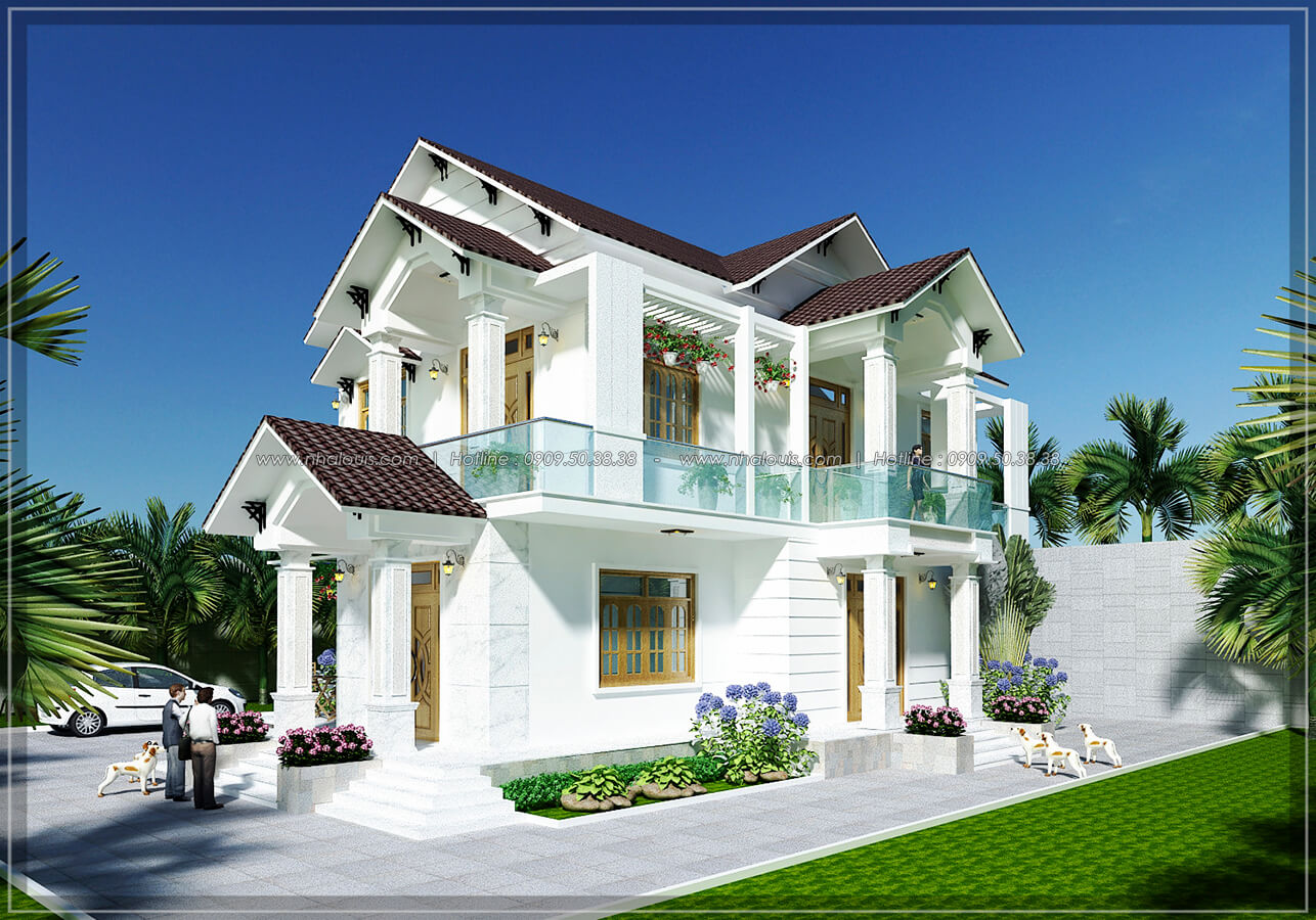 mẫu nhà 2 tầng mái thái với kiến trúc theo phong cách á đông