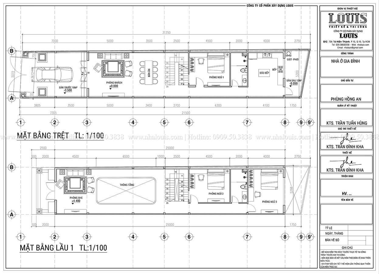 Mặt bằng tầng trệt, tầng 1 Mẫu nhà phố 3 tầng tân cổ điển quý phái tại Thủ Đức - 04
