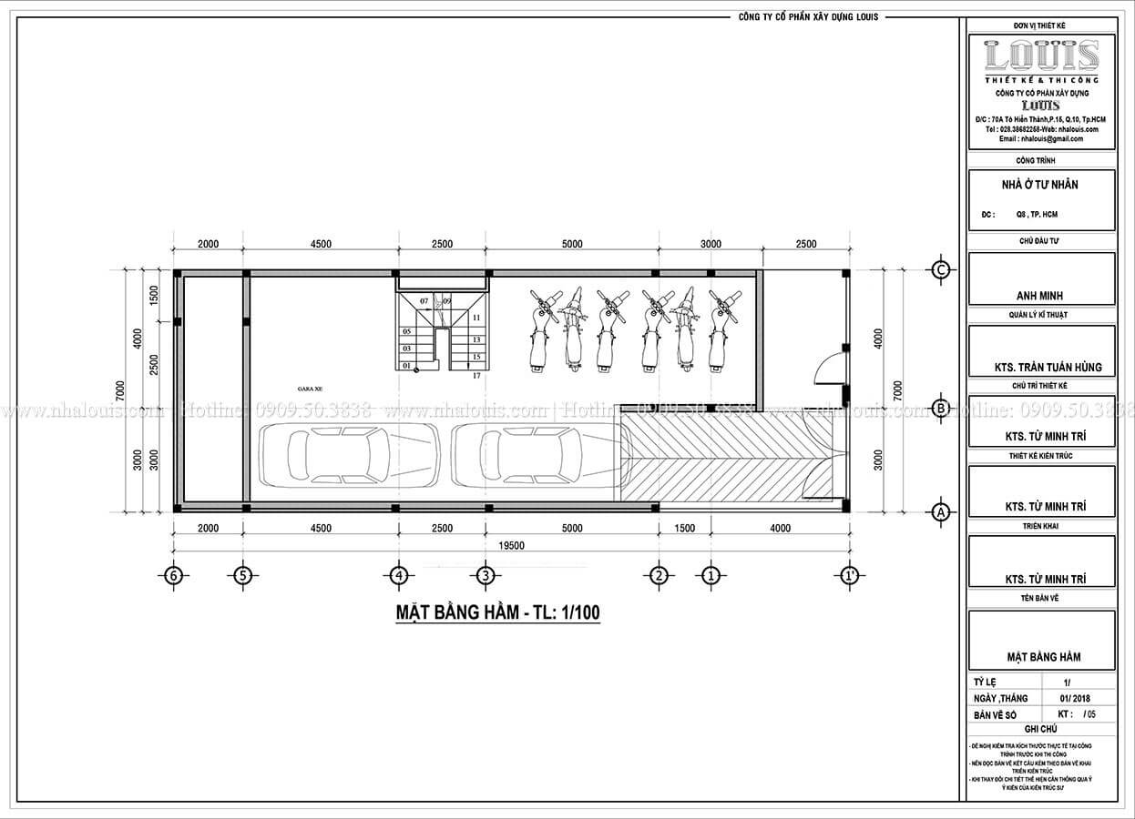 Mặt bằng tầng hầm Mẫu nhà phố 4 tầng 7x16m có tầng hầm tiện lợi tại Bình Chánh - 07