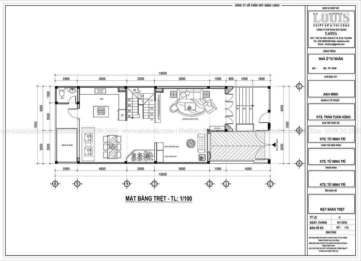 Mặt bằng tầng trệt Mẫu nhà phố 4 tầng 7x16m có tầng hầm tiện lợi tại Bình Chánh - 11