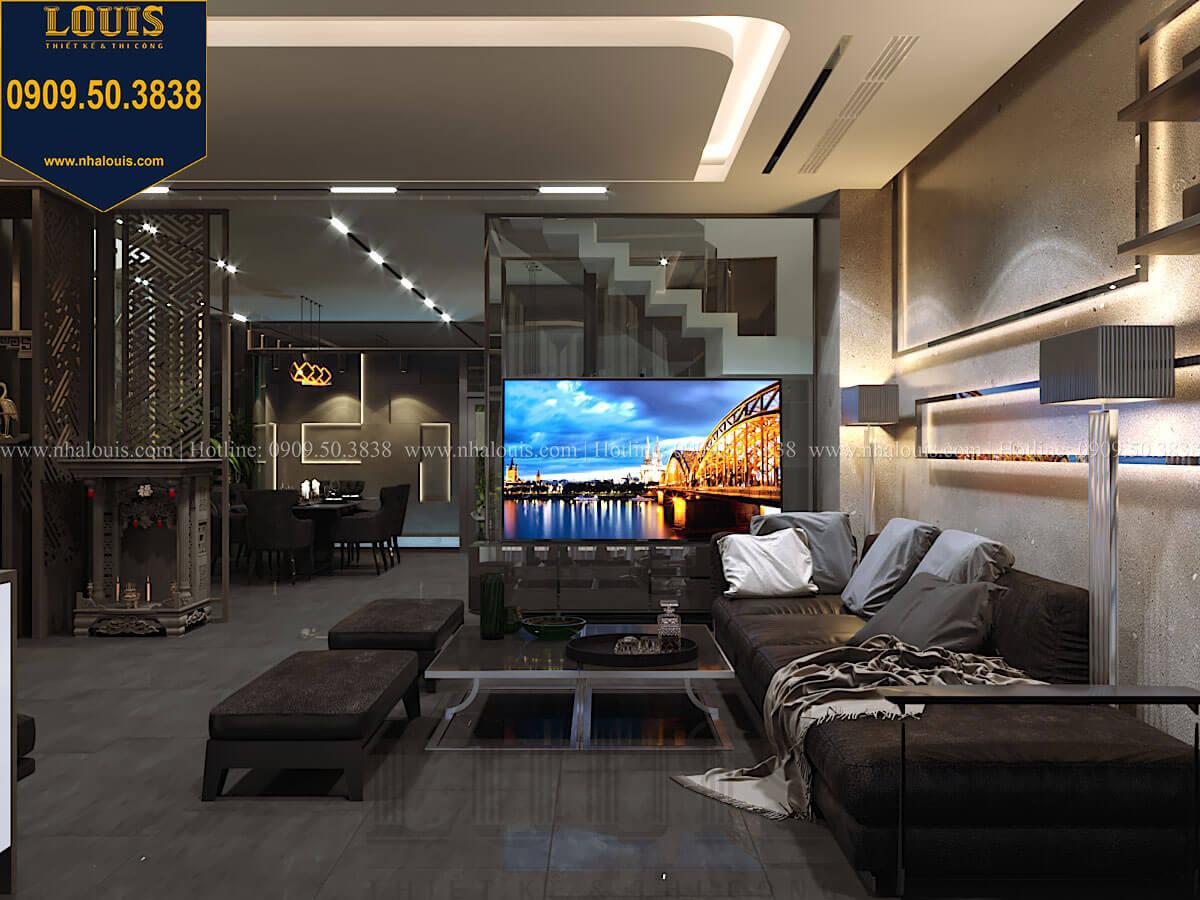 Phòng khách Mẫu nhà phố 4 tầng 7x16m có tầng hầm tiện lợi tại Bình Chánh - 13