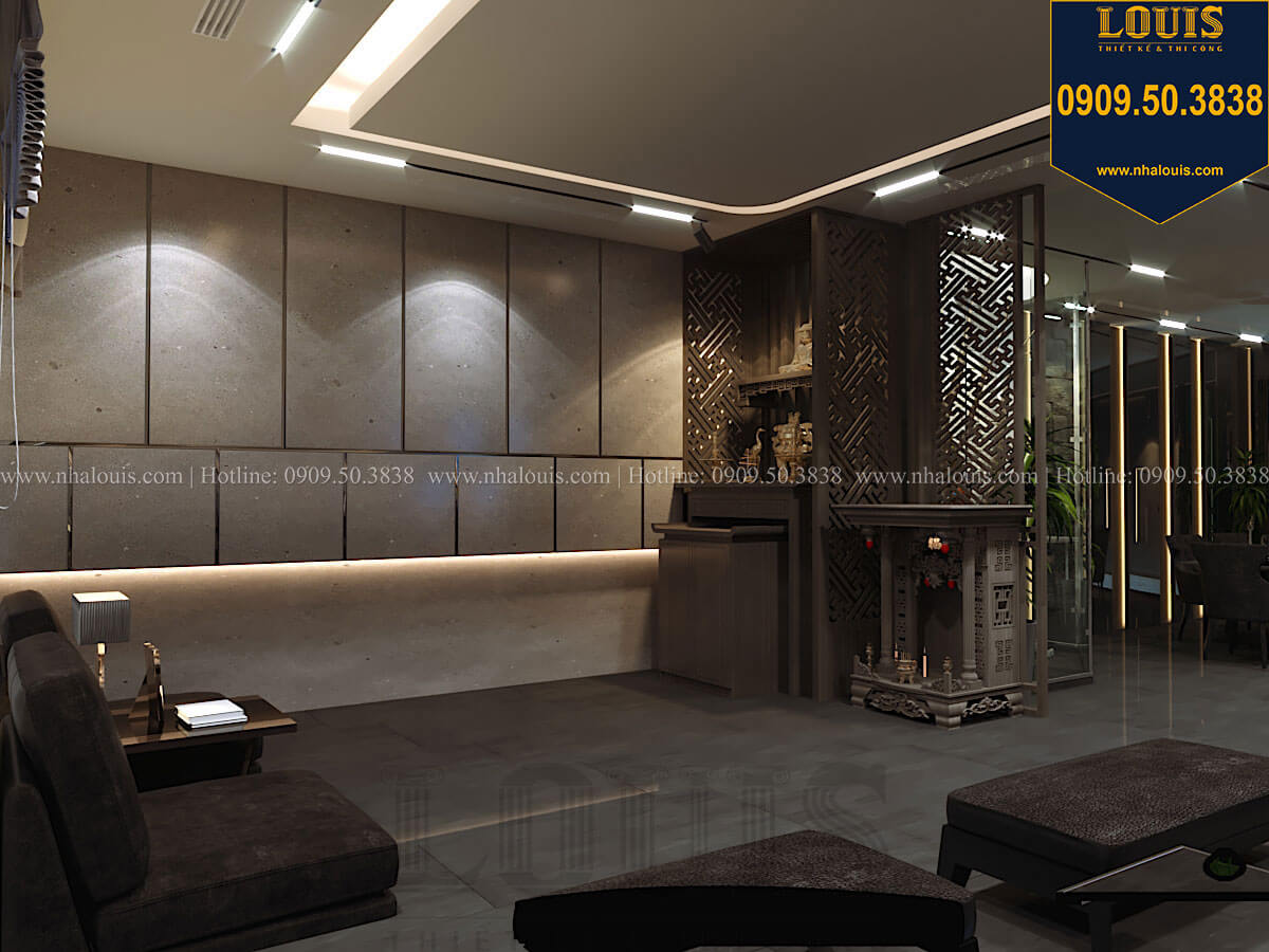 Phòng khách Mẫu nhà phố 4 tầng 7x16m có tầng hầm tiện lợi tại Bình Chánh - 14