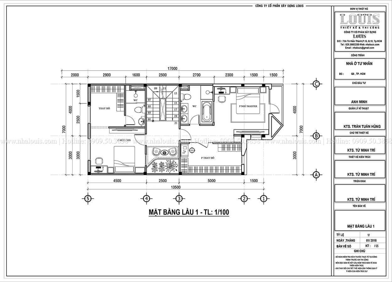 Mặt bằng tầng 1 Mẫu nhà phố 4 tầng 7x16m có tầng hầm tiện lợi tại Bình Chánh - 25