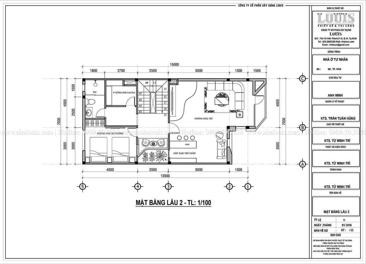 Mặt bằng tầng 2 Mẫu nhà phố 4 tầng 7x16m có tầng hầm tiện lợi tại Bình Chánh - 43