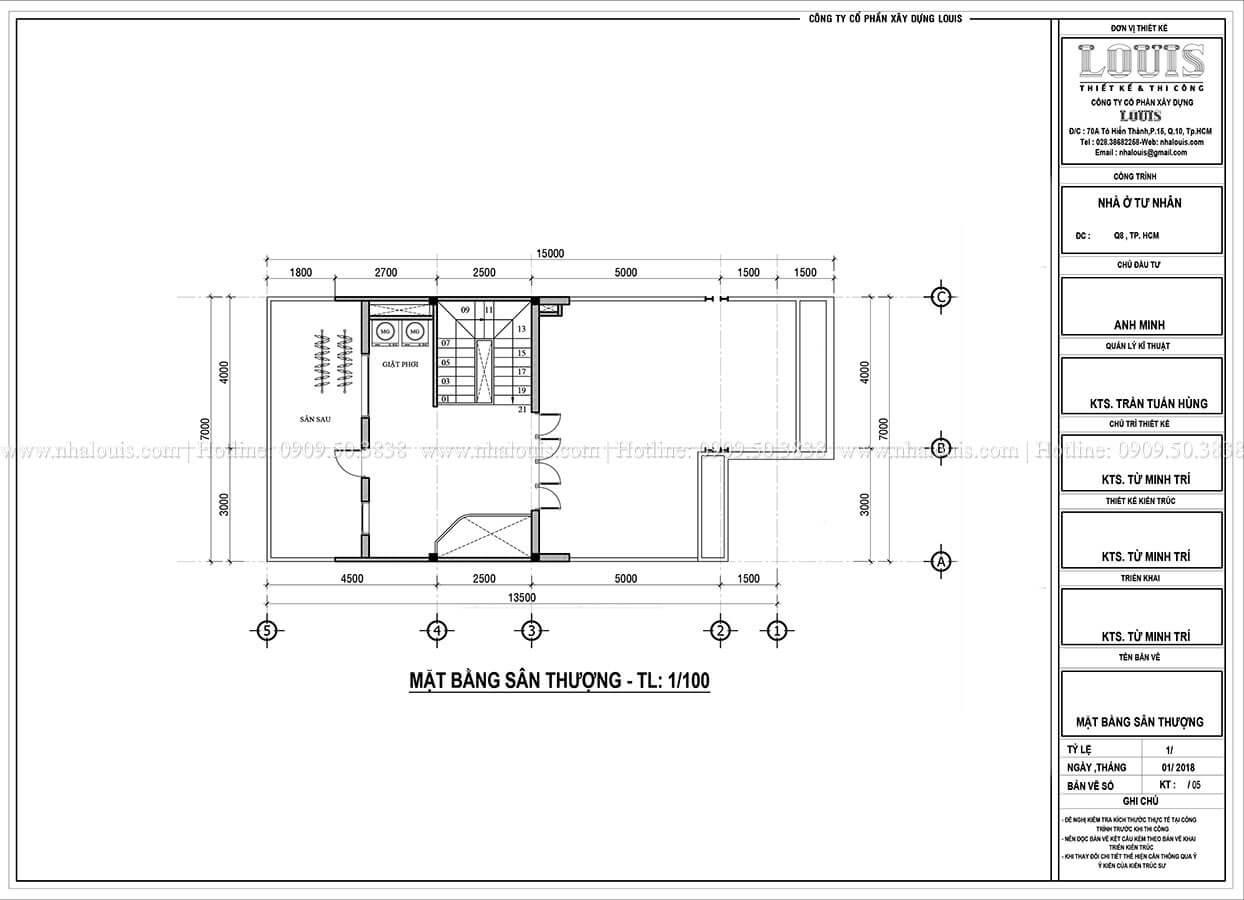 Mặt bằng tầng thượng Mẫu nhà phố 4 tầng 7x16m có tầng hầm tiện lợi tại Bình Chánh - 53