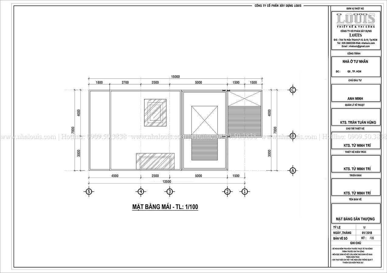 Mặt bằng tầng mái Mẫu nhà phố 4 tầng 7x16m có tầng hầm tiện lợi tại Bình Chánh - 54