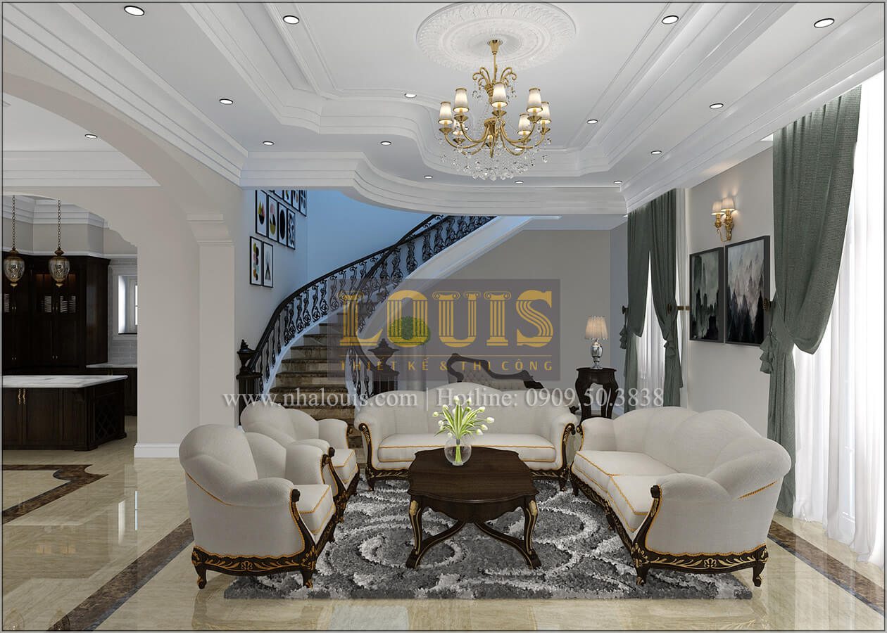 Chọn màu nội thất đẹp cho phòng khách biệt thự cổ điển giúp gia chủ phát đạt