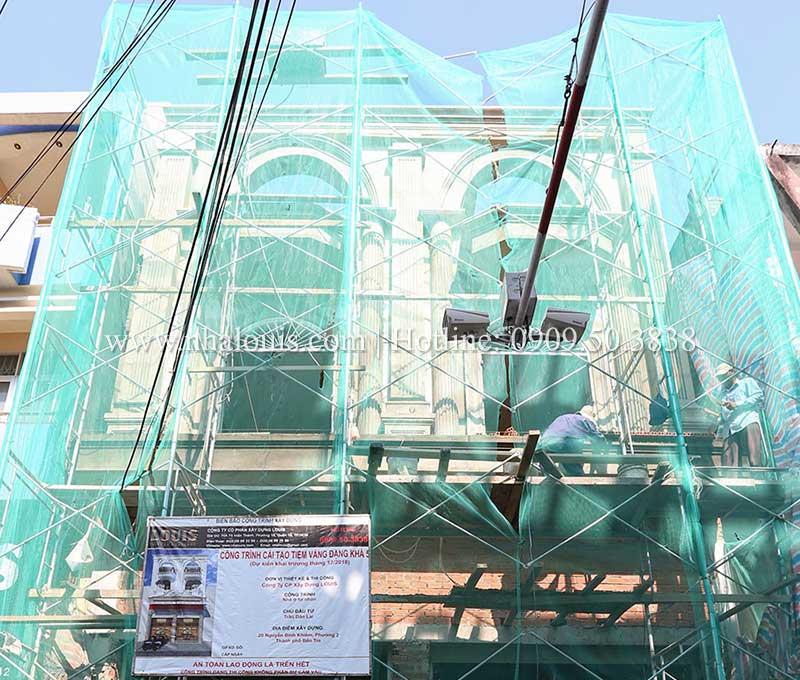 Thi công mẫu nhà 4 tầng kết hợp kinh doanh tiệm vàng tại Bến Tre