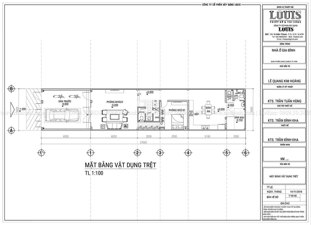 Mặt bằng tầng trệt Mẫu thiết kế nhà phố 4 tầng hiện đại và ấn tượng tại Quận 9 - 04