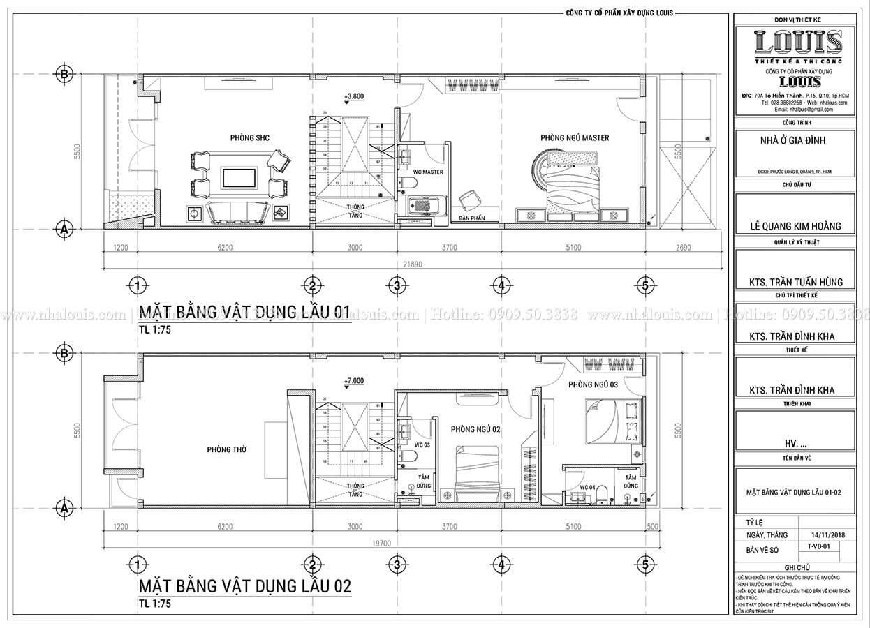 Mặt bằng tầng 1, tầng 2 Mẫu thiết kế nhà phố 4 tầng hiện đại và ấn tượng tại Quận 9 - 05